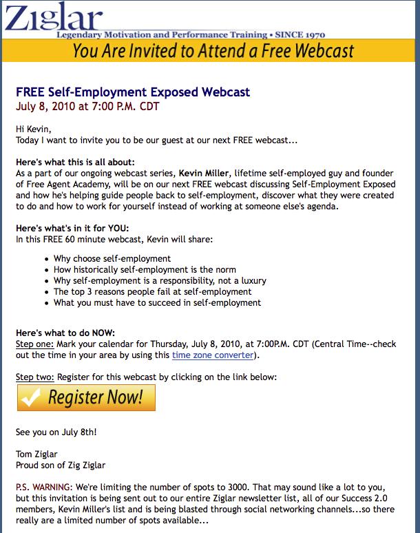 Free agent underground zig ziglar self employment exposed july 8